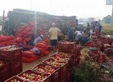 Caminhão carregado com verduras tomba na BR-324