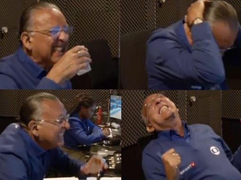Galvão Bueno viraliza após reações dentro de cabine com a vitória de Rebeca Andrade serem divulgadas