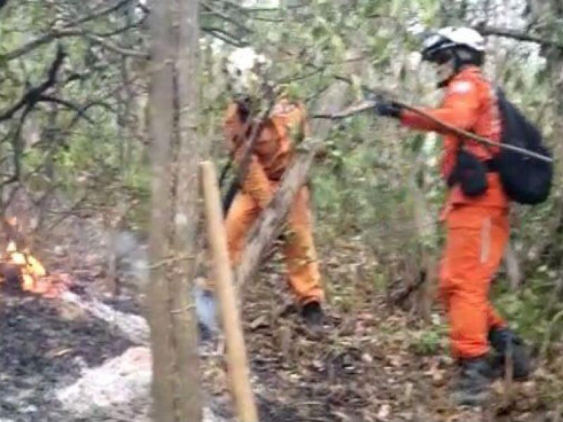 Força-tarefa do Governo do Estado e brigadistas controlam incêndio na região Lençóis